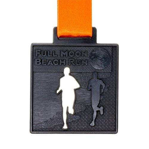 metal badge prestige custom made medals-full moon beach run medal