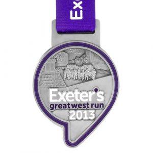 metal badge prestige custom made medals-exeter's great west run 2013 medal