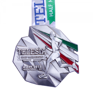 metal badge prestige custom made medals-telesia half marathon 2015 medal