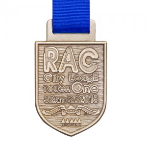 metal badge prestige custom made medals-RAC city lodge tough one 2015 medal