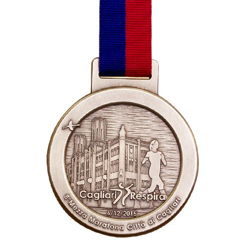 Metal Badge custom made medals-mezza marathon 2015 medal