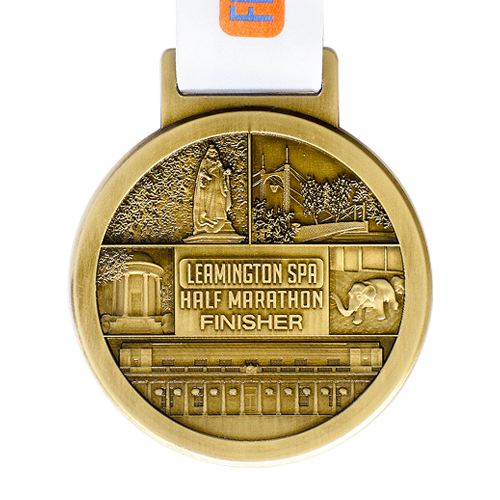 Metal Badge custom made medals-leamington spa half marathon medal