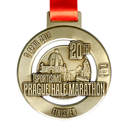 Metal Badge custom made medals-prague half marathon 2018 medal