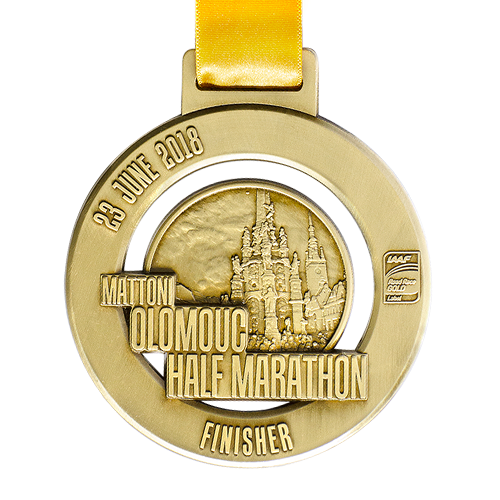 Metal Badge custom made medals-mattoni olomouc half marathon 2018 medal