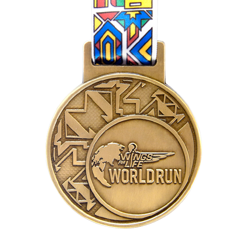 Metal Badge custom made medals-wings for life world run medal