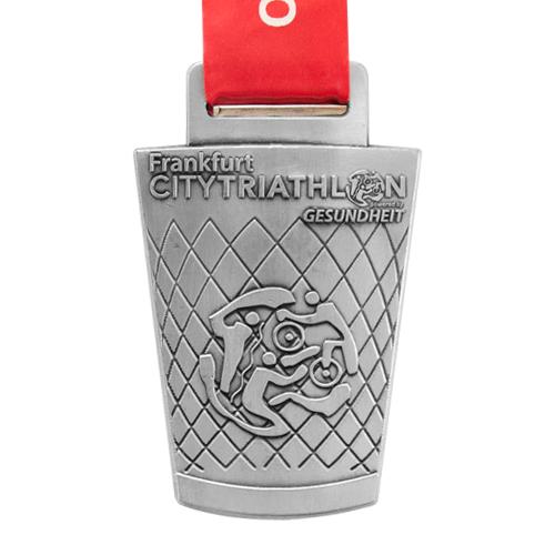 Metal Badge custom made medals-frankfurt city triathlon medal