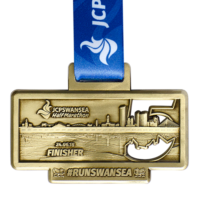 Metal Badge custom made medals-JCPSWANSEA half marathon 2018 medal